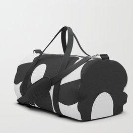 Black Retro Flowers White Background #decor #society6 #buyart Duffle Bag