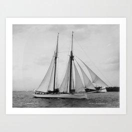 Arthur Curtiss James' schooner Coronet under sail in 1894 Art Print
