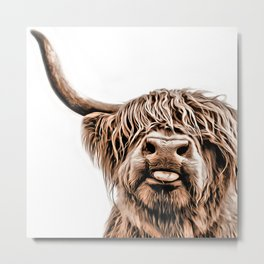 Funny Higland Cattle Metal Print