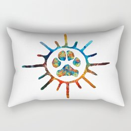 Colorful Dog Art Sun Paw by Sharon Cummings Rectangular Pillow