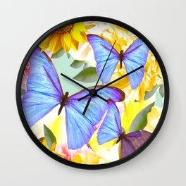 Bright Blue Butterflies Yellow Flowers #decor #society6 #buyart Wall Clock