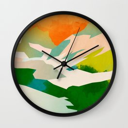 mountains landscape abstract Wall Clock