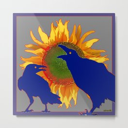Blue Color Bickering Crows Sunflower Grey Art Metal Print