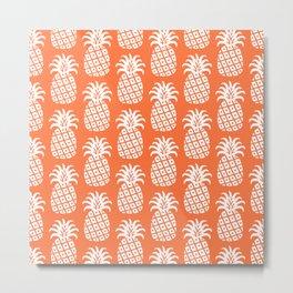 Mid Century Modern Pineapple Pattern Orange Metal Print