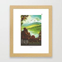 Earth Retro Space Poster Framed Art Print