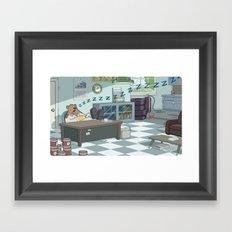 Snoozing Otto Framed Art Print