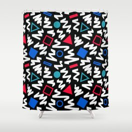 Red, White, and Blue 90's Pattern Shower Curtain