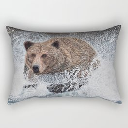 Grizzly Bear Running in the Water Rectangular Pillow