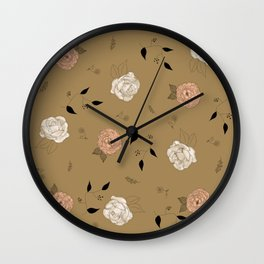 Pink a White Roses and Peonies Flower pattern. Wall Clock
