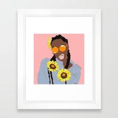 Black Flower Goddess - Digital Vector Drawing Framed Art Print