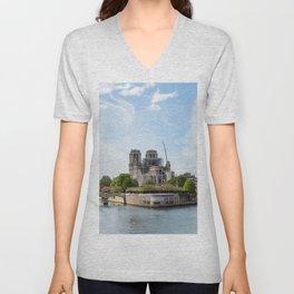 Notre Dame de Paris after the fire Unisex V-Neck