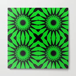 Green & Black Pinwheel Flowers Metal Print