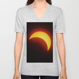 Partial Solar Eclipse Unisex V-Neck