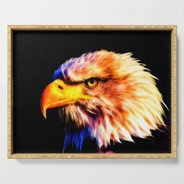bald eagle 03 neon lines meteor Serving Tray