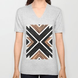Urban Tribal Pattern No.1 - Concrete and Wood Unisex V-Neck