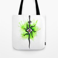 dragon age inquisition Tote Bags featuring Dragon Age Inquisition - Inquisitor Symbol by Salzburn Designs Shop