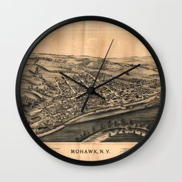 Aerial View of Mohawk, New York (1893) Wall Clock