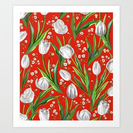 White Tulips + Babys Breath — Red Art Print