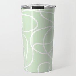 Doodle Line Art | White Lines on Palest Green Travel Mug