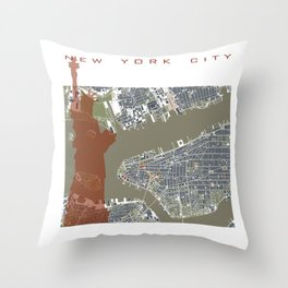 New York city map engraving liberty Throw Pillow