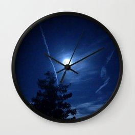 Full Moon and Contrails Wall Clock