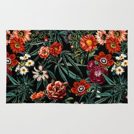 Marijuana and Floral Pattern Rug