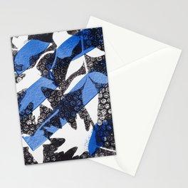 Modern Botanical Laurel Oak Monoprint Black and Blue Stationery Cards