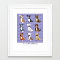 pit bull Framed Art Prints featuring American PIT BULL TERRIERS by Doggie Drawings