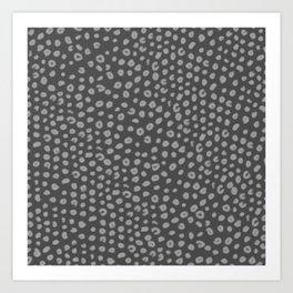 Polka Dot Pattern Black and White Gray Charcoal Art Print