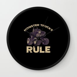 Awesome Monster Trucks Rule Funny Trucks Gift Wall Clock