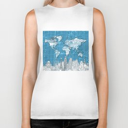 world map city skyline 10 Biker Tank