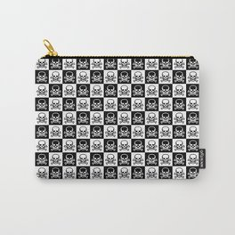 Black and White Skull and Crossbones Check Pattern Carry-All Pouch