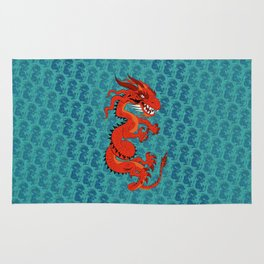 Red Dragon with Teal Rug