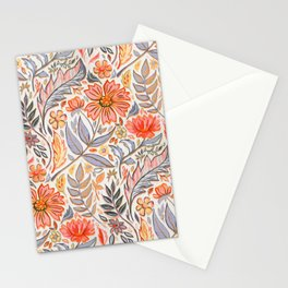 Coral Pink, Red and Lilac Art Nouveau Floral Stationery Cards