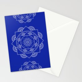 Mandala 01 - White on Royal Blue Stationery Cards