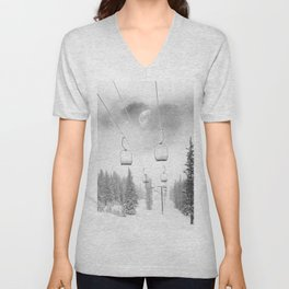 Ski Lift Moon Break // Riding the Mountain at Copper Colorado Luna Sky Peeking Foggy Clouds Unisex V-Neck