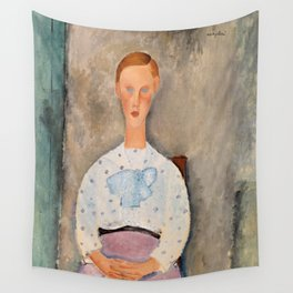 """Amedeo Modigliani """"Girl with a Polka-Dot Blouse (Jeune fille au corsage à pois)"""" Wall Tapestry"""
