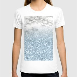 She Sparkles - Turquoise Teal Glitter Marble T-shirt