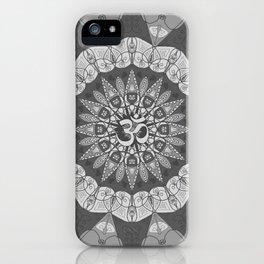 Mandala pattern gray yoga namaste floral om boho iPhone Case