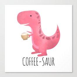 Coffee-saur | Pink Canvas Print
