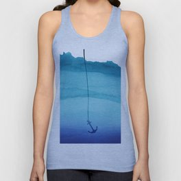 Cute Sinking Anchor in Sea Blue Watercolor Unisex Tank Top