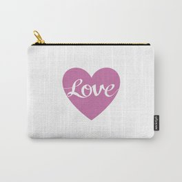 Love Script Pink Heart Design Carry-All Pouch