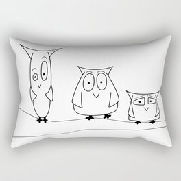 Three owls on a branch Rectangular Pillow