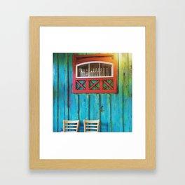 Turquoise + Wood Framed Art Print