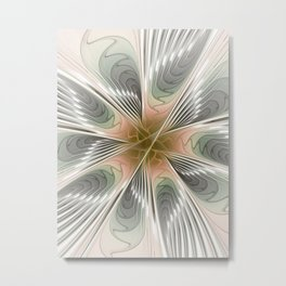 Floral Elegance, Modern Fractal Art Metal Print