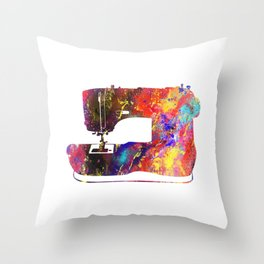 Sewing Machine Quote Art Design Inspirational Mot Throw Pillow