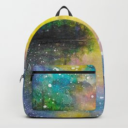 Crescent Moon Reflection Galaxy watercolor by CheyAnne Sexton Backpack