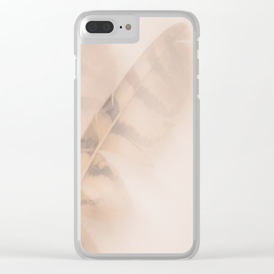 Two feathers on a soft pastel background - beautiful couple Clear iPhone Case