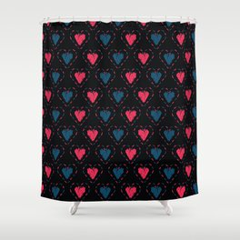 Red denim blue stitched love hearts Shower Curtain