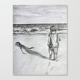 Toddler on the Beach Drawing Canvas Print